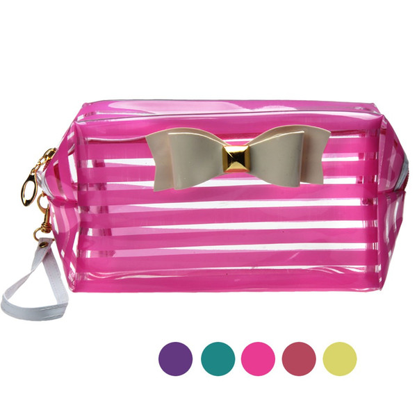 New Fashion Cute Travel Makeup Bags Transparent Waterproof Cosmetic Bags Cases Striped Toiletry Bathing Pouch Free Shipping