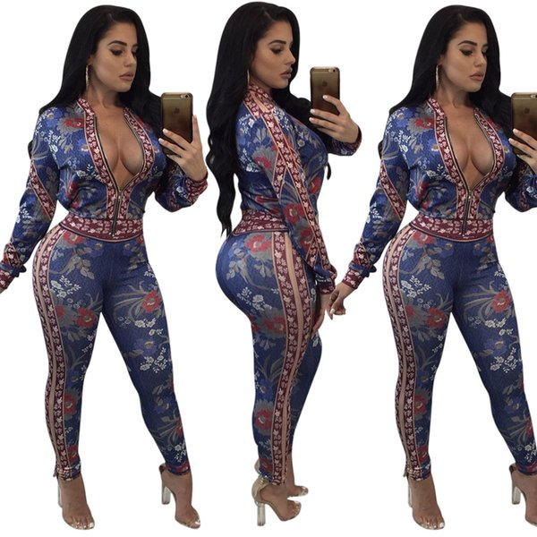 Autumn and Winter Women Floral Two Piece Pants Lady Casual Slim Zip Neck Long Sleeve Jacket and Long Pant Clubbing Two-piece Set