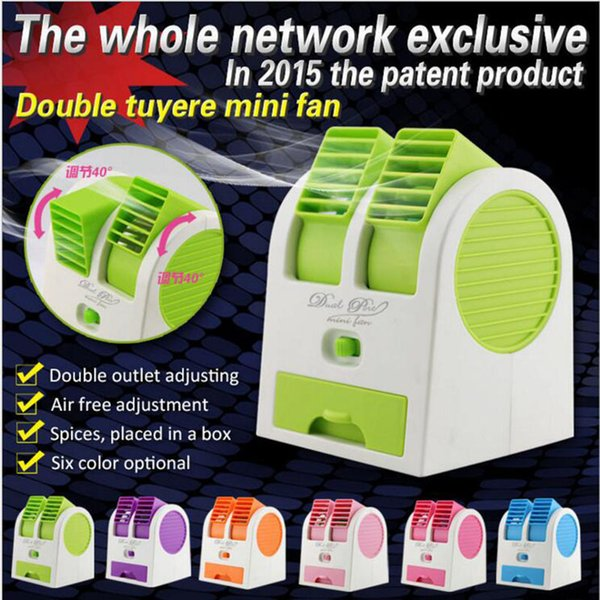 6 Color Mini USB Fragrance Refrigeration Fan Portable Bladeless Desktop Fan Cooling Air Conditioner with Retail Packaging