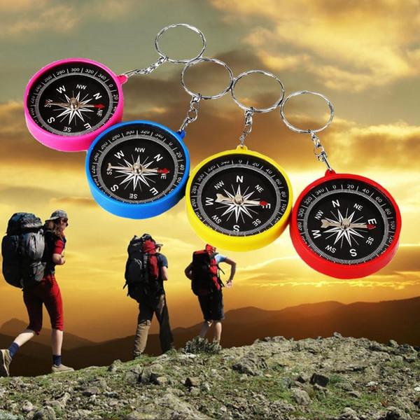 Atacado-Mini Compass Keyring Lens Para Marine Outdoor Pocket Sports Camping Caminhadas Navegação de Viagem Plástico Plástico Multifuncional