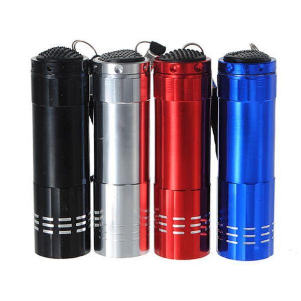 best selling Cheap Colorful Mini Aluminum UV ULTRA VIOLET 9 LED FLASHLIGHT BLACKLIGHT Torch Light Lamp Keychains DHL FREE SHIPPING