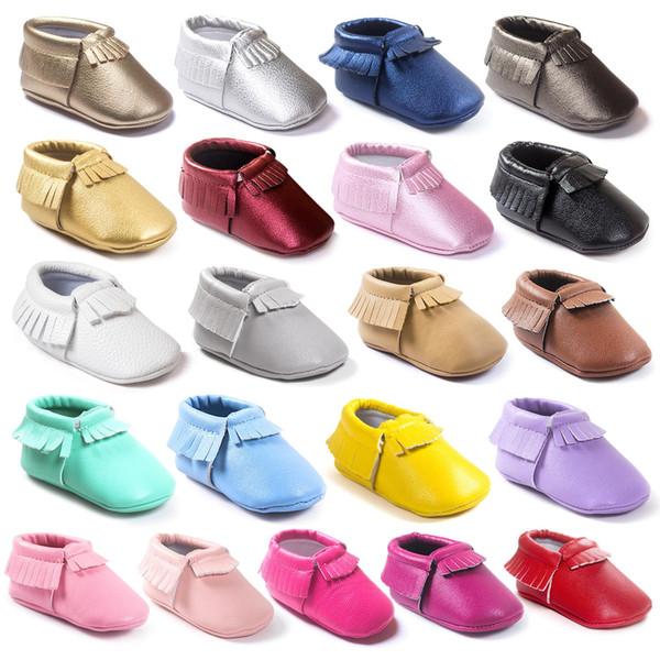 Chaude vente bébé enfants chaussures en cuir véritable Slip-On garçons garçons filles gland mocassins en cuir souple bébé première marcheur chaussures