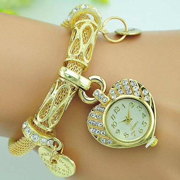 New Luxury Charming Women Ladies Watch Heart Love Pendant Gold Mesh Band Bracelet Wristwatch Newest Clock Female Hour Crystal Women's Watc