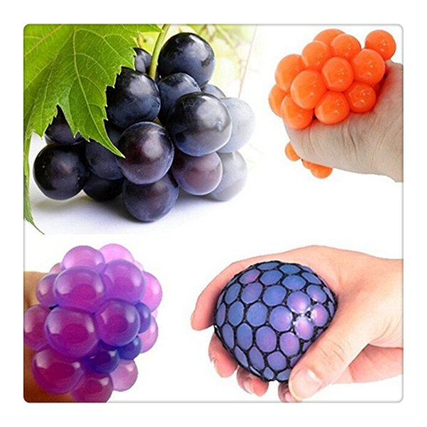 2017Fidget Toy Anti Stress Reliever Grape Ball Autism Moody Squeeze Relief Healthy Toy Funny Geek Gadget Vent Toy Color Random free shipping