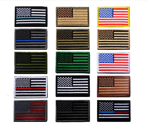 best selling VIP Price US Flag Tactical military Patches Gold Border American flag Iron on patches Applique Jeans Fabric Sticker Patches for Hat badges