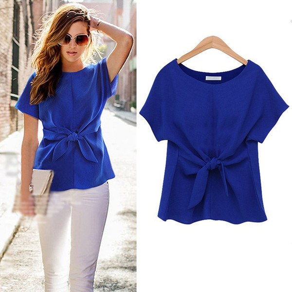 Summer womens t shirts round neck chiffon fashion short sleeve woman t shirt designer bow plus size ladies shirts for women casual tops