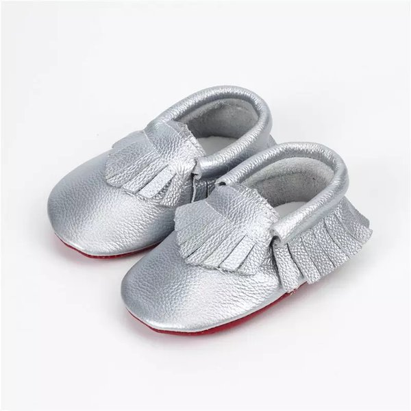 Unisex lovely hot sale Baby Moccasins Genuine Leather Cow Leather Double Colors Tassels First Walking Shoes Soft Sole Infant Toddler Shoes