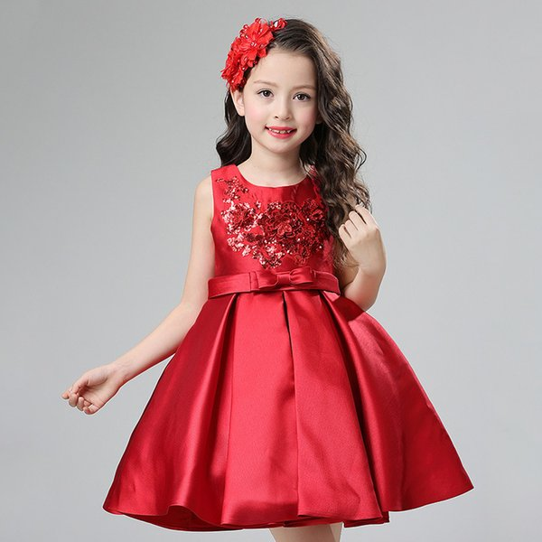 Free Shipping Ball Gown Short / Mini Satin Boat Neck Cheap Champagne Flower Brithday Girl Dresses for Wedding Brithday Dresses with Sequins