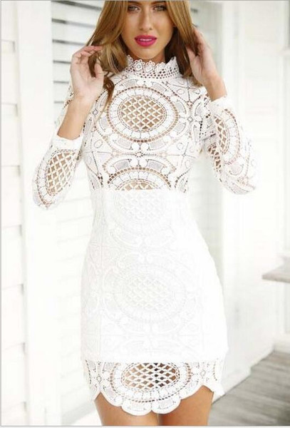 Wholesale- Euro 2016 hollow lace women dress Sexy Club Dress White / Black hook Floral Celebrity bandage hip Long Sleeve Slim vestidos B291