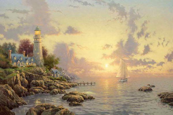 Море Спокойствия Томас Кинкейд картины маслом искусство стены современный HD печать на холсте украшения без рамки