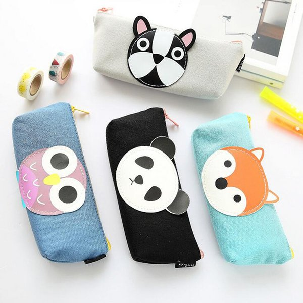 Wholesale-Y17 Kawaii Cute Panda Owl Fox Dog Pen Bag Pencil Storage Organizer Case School Supply Birthday Gift Cosmetic Makeup Travel