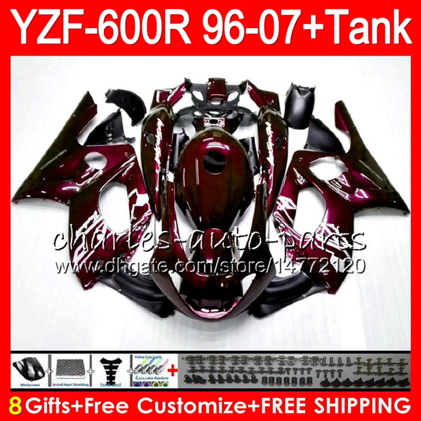 8Gift 23Color For YAMAHA YZF600R Thundercat 96 97 98 99 00 01 Wine red 53HM18 YZF-600R YZF 600R 1996 1997 1998 1999 2000 2001 Fairing kit