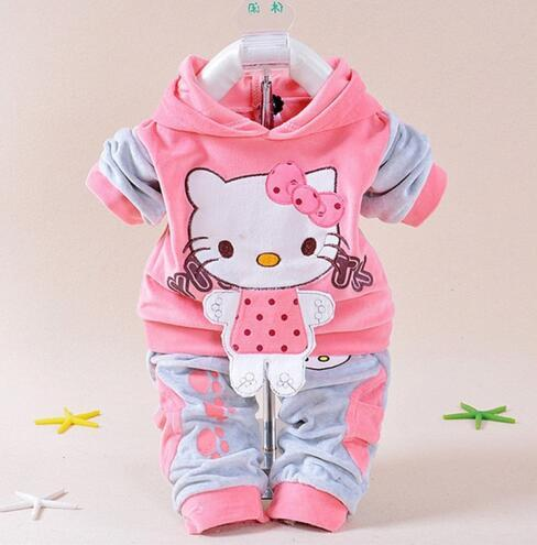 Baby Girls Clothing Cartoon Kitty Rabbit Cow Newborn Boy Brand Velvet Hooide + Pants Twinset Kids Infant Sport Suit Sweatershirt