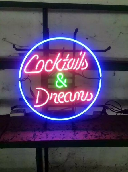 "17""x14"" Cocktails And Dreams Retro Neon Sign Bar Wall Decor CUSTOM REAL GLASS TUBE LIGHT BEER BAR PUB CLUB STORE DISPLAY SIGN SIGNAGE"