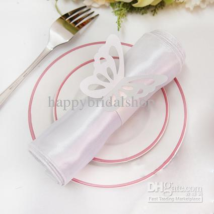 Tracking Number--100pcs White Napkin Cloth Rings Vintage Style Paper Butterfly Napkin Rings Wedding Bridal Shower Napkin holder