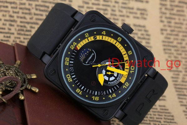 New Mens Luxury Watches Black Rubber Bell BRr Automatic Mechanical Self Wind LIMITED EDITION AVIATION Moon Day Power Reserve Moonphase