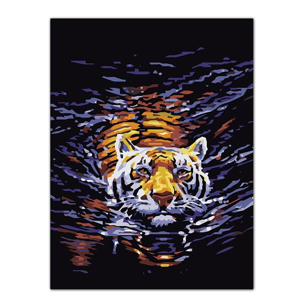 best selling Frameless Tiger Painting DIY Oil Painting By Numbers Kits Wall Art Picture Home Decor Acrylic Paint On Canvas For Artwork