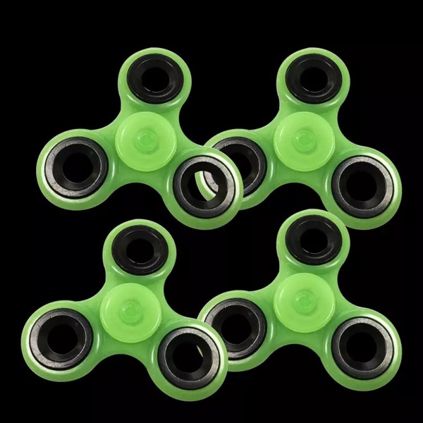 best selling Luminous Handspinner EDC Hand Spinner With R188 Full ss Bearing Gray Glow In The Dark Tri Spinner Fidget Desk Toy Decompression Toys 100
