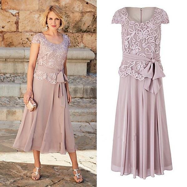 2017 una línea de madre de los vestidos de novia longitud del té escote redondo vestido de fiesta de encaje para las madres novio desgaste formal