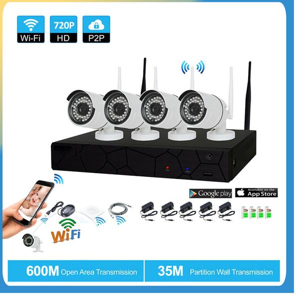 4-канальная система видеонаблюдения Беспроводная 720P NVR 4PCS 1.0MP ИК Открытый P2P Wi-Fi IP-камера видеонаблюдения Система видеонаблюдения Kit