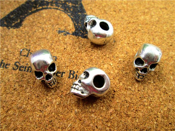 45pcs - Perles de crâne, Pendentif avec breloque perle de crâne en argent antique tibétaine, Jour des morts 15x9X8mm