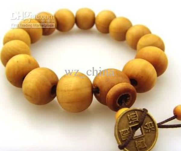 Good wood bracelets Sandalwood with old coins rosary prayer beads religious bracelets 50pcs/lot