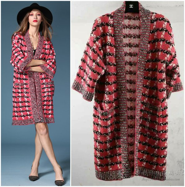 Wholesale-designer cc brand women knitted plaid wool cardigan poncho kimono Batwing sleeve cashmere shiner pink oversize sweater cape coat