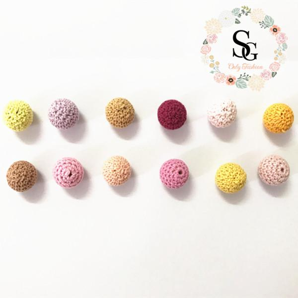 80 PCS Elegant 16 mm Crochet Beads 36 Color Available For Choose Knitted By Cotton Thread DIY Jewellery Making,Crochet Ball Beads