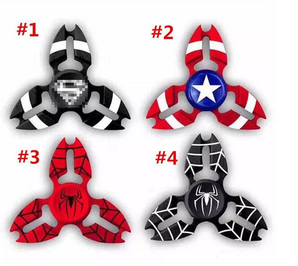 Kaptan Amerika Parmak Spinners Spiderman Süper Kahraman Avenger Kalkanı Yengeç Handspinner Dekompresyon Anksiyete Gyro oyuncaklar A001