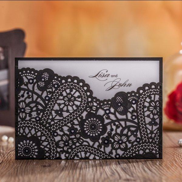 Wholesale laser cut black flower pattern wedding invitations wholesale laser cut black flower pattern wedding invitations greeting birthday luxury design card supplies m4hsunfo