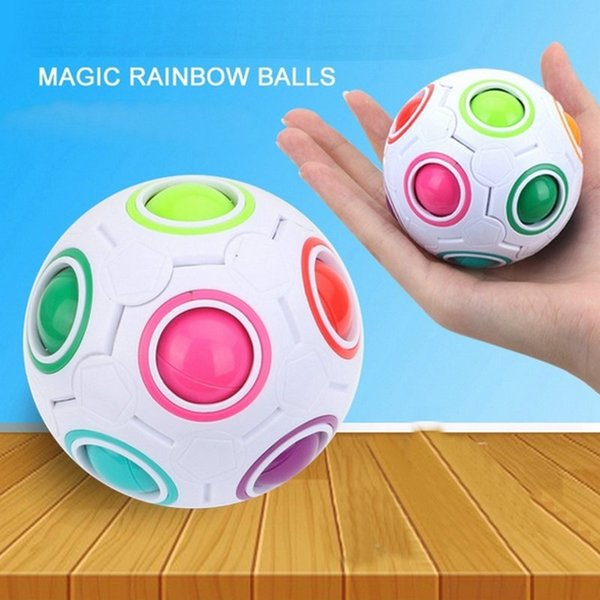 3PCS Rainbow Ball Magic Cube Speed Football Fun Creative Spherical Puzzles Kids Educational Learning Toys games for Children Adult Gifts