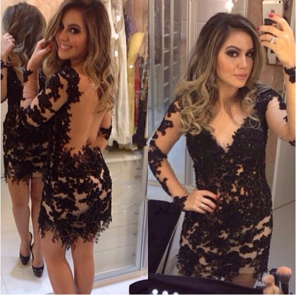 Sexy Illusion Black Cocktail Dresses Long Sleeve Lace Backless Short Prom Dress V Neck Hot Sale Sheath Party Gowns