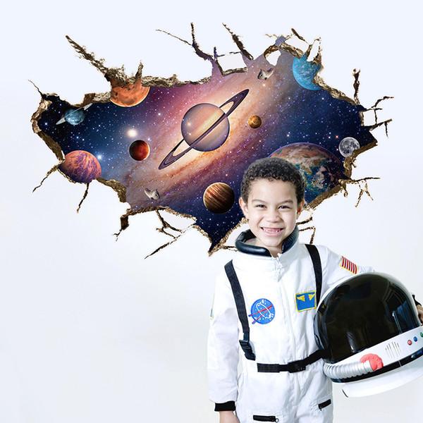 3d adesivos de parede home decor espaço universo planeta para quartos de crianças adesivos muraux pvc à prova d 'água pegatinas de pared