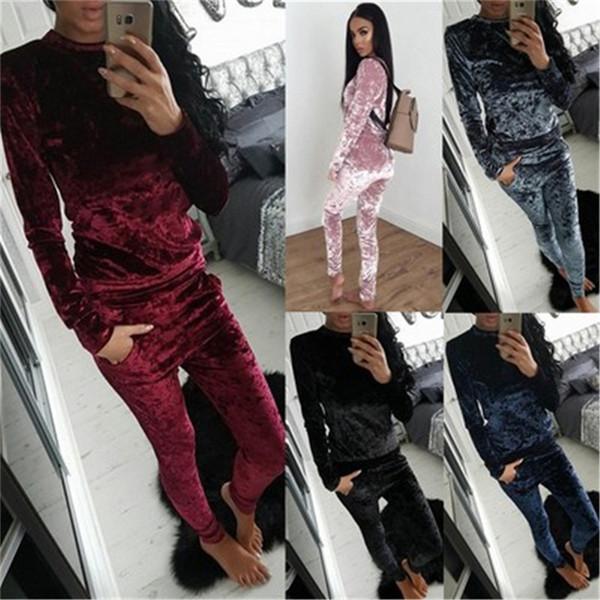 Fashion Women Ladies Crushed Velvet Lounge Suit Sweatshirt Pant Women Lounge Wear Tracksuit Long Sleeve Tops Plus Size S-XXXL