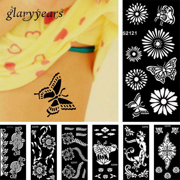 Großhandel-28 Design 1 Stück Henna Tattoo Schablone Schönheit Frauen Körper Bein Hand Füße Kunst Airbrush Zeichnung Farbe Design Tattoo Aufkleber Vorlage