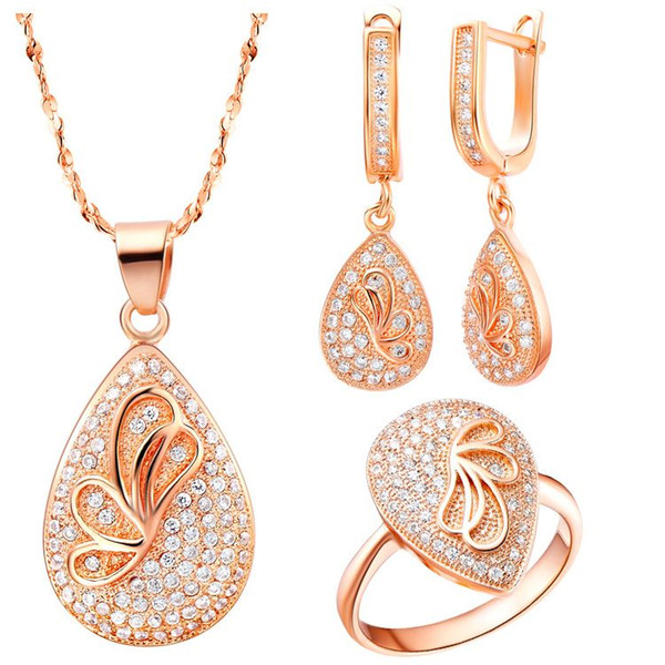 925 Sterling Silver pendant Earrings ring Women Gift word Jewelry sets NEW of suit Austria Crystal Butterfly Necklace Ring Earrings Zirc