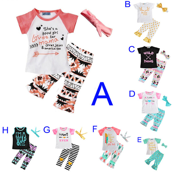 Girls Clothing Set New Summer Cute Letter Arrow Feather T Shirt+Polka Dot Stripe Pants+Bow Headband 3pcs Kids Baby Girl Clothes Outfits