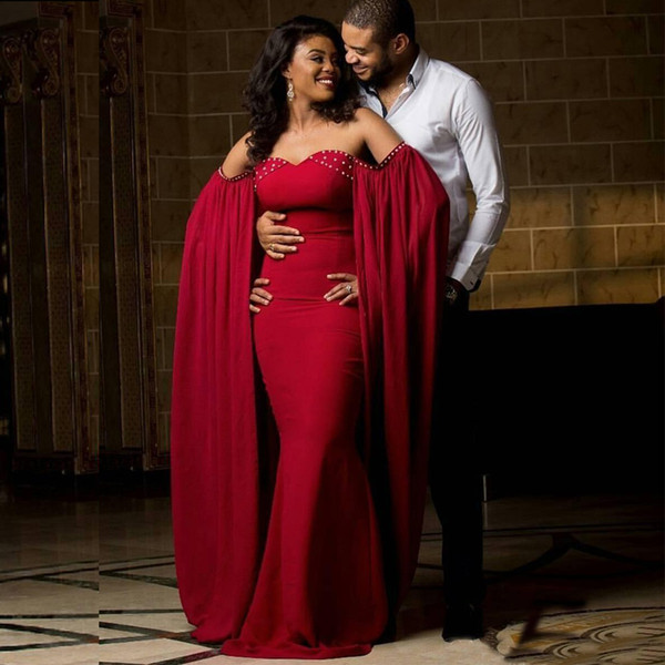 Elegant Arabic Evening Dress Red Mermaid Off the Shoulder Evening Dresses Charming Cape Design Long Formal Prom Party Gowns with Beads