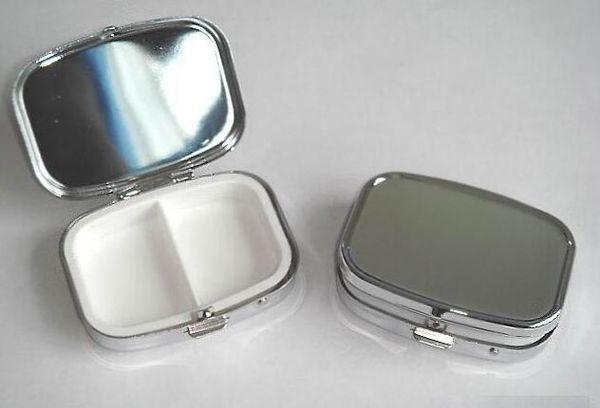 Free Shipping 200pcs/LOT Rectangle Metal Pill Boxes Organizer DIY Medicine Case Holder 2 Silver