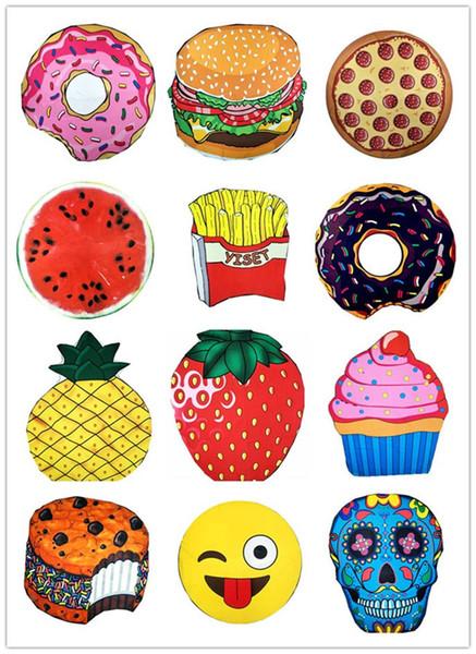 Runde Polyester Strand Dusche Handtuch Decke Yoga Handtuch Schädel Eis Erdbeer Smiley Emoji Ananastorte Wassermelone Handtuch 240662