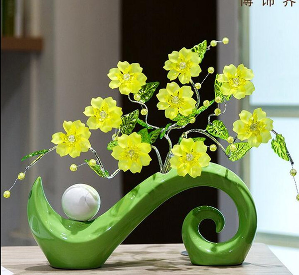 Modern Lucky Shape Ceramic Vase for Home Decor Tabletop this pirce is for a set vase and flowers together