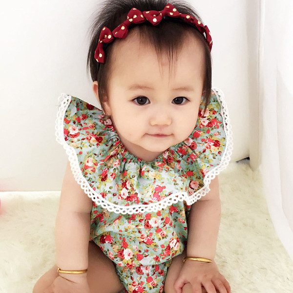 HUG ME 2017 INS hot baby girl infant toddler kids Summer clothes clothing Flower floral romper diaper covers bloomers bodysuits jumpsuits