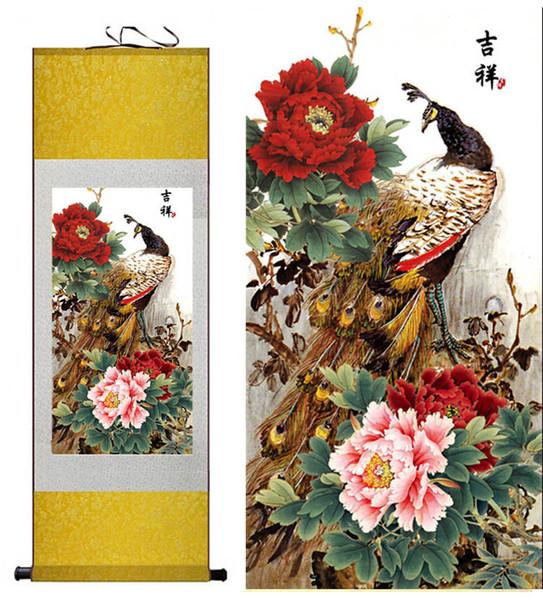 павлин живопись на шелке китайская традиционная роспись на шелке роспись по цветам гостиная искусство Печатные Wall Art Scroll Hang Picture