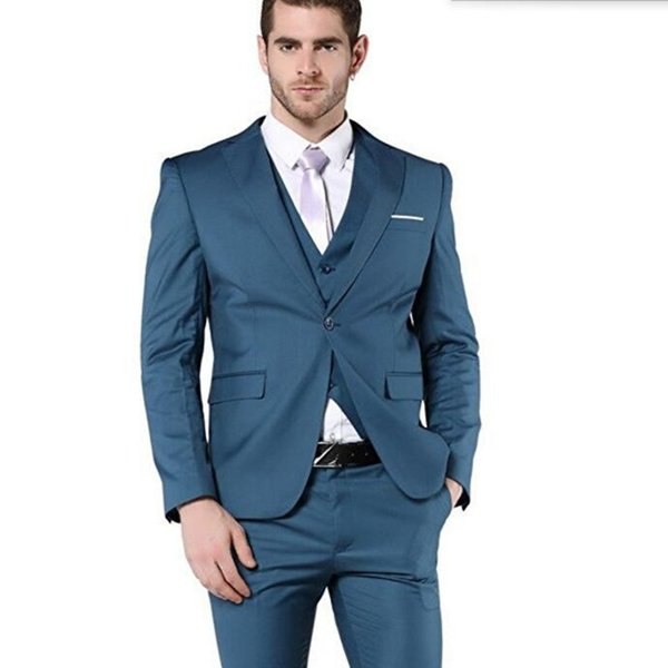 Latest design style men wedding suits tuxedos slim fit men suits haute couture groom best man dress suits(jacket+vest+pants)