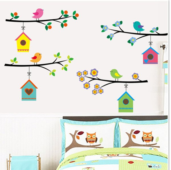 7226 Birds on Branches Tree Wall Decals Decorative Sticker Bedroom Wall Arts Removable PVC Bird Stickers
