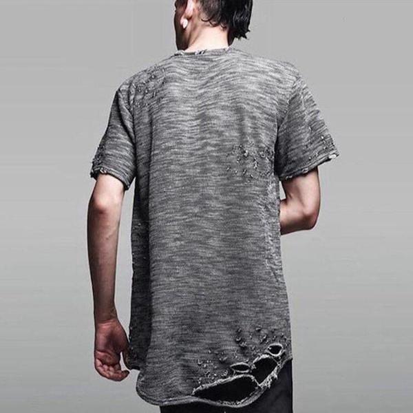 2017 roupas urbanas hip hop t camisa dos homens buraco destruído estendido camiseta kpop roupas tyga tee kanye oeste hba rhude yeezus