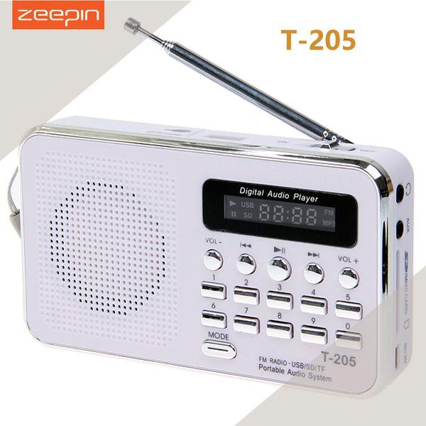 Wholesale-Zeepin T-205 Portable HiFi Card Speaker Digital Multimedia Loudspeaker FM Radio White Camping Hiking Outdoor Sports