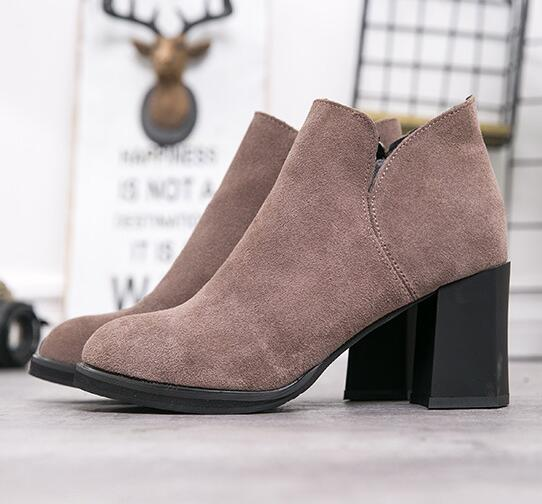 Hot Sale Autumn Winter Women Boots Fashion Black Solid Ankle Boots Slip On High Heels Women Shoes Casual Genuine Leather Ladies Shoes