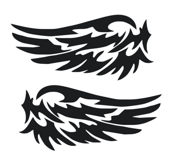 Small Size Car Rearview Mirror Sticker Mini Stick White Black Wing Pattern Trunk Funny Fashion EMS Shipping