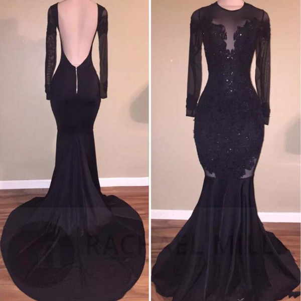 Black Illusion Prom Dresses Long Sexy Low Backless Mermaid Long Sleeves Evening Dress with Appliques Beaded Mermaid Cocktail Party Gowns
